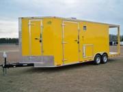 2001 8.5X24 Yellow V-Nose BBQ Concession Trailer