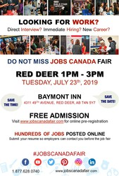 Red Deer Job Fair - July 23rd,  2019