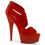 PleaserUSA Delight 609 6? Red Stiletto Heel Platform Criss-Cross Elast